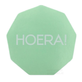 Stickers | Hoera! hoekig | Mint | 10 stuks
