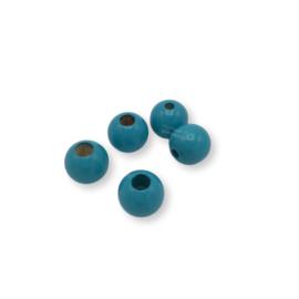 Gekleurde houten verstop-je-knoopje kraal - Turquoise