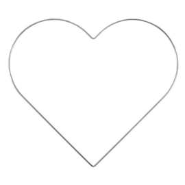 Metalen hart | 32 cm | Zilver/metaal
