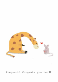 Wenskaart   Nadine Illustraties   Giraffe en Muis   Pregnant!