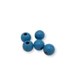 Gekleurde houten kraal - Lichtblauw