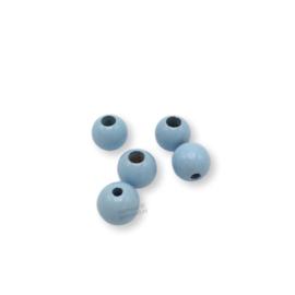 Gekleurde houten verstop-je-knoopje kraal - Babyblauw