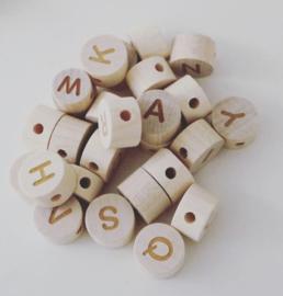 Houten letterkraal | Rond | 11 mm | A