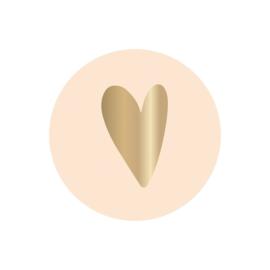 Stickers | Hartje | Ivoor met gouden hart | 10 stuks