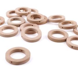 Houten ring | Open en plat met gaatjes