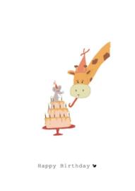Wenskaart   Nadine Illustraties   Giraffe en Muis   Happy Birthday