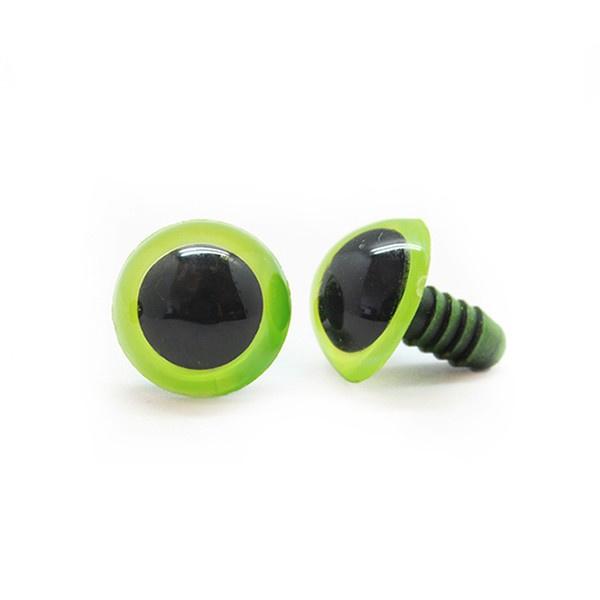 Veiligheidsoogjes | Rond | Groengeel gekleurd | 8mm