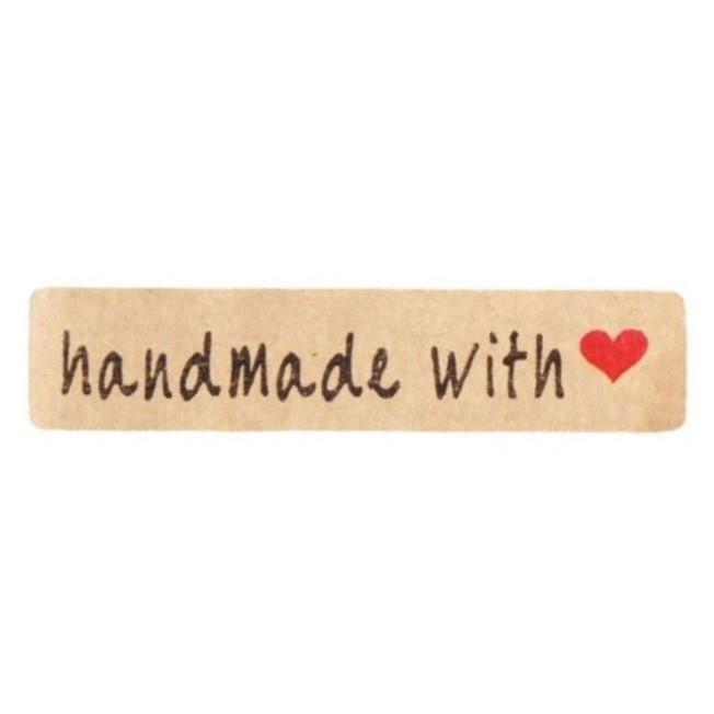 Stickers | Handmade with love ♥ met hartje  | Kraft | 20 stuks