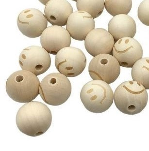 Blanke houten kralen | Rond met smiley | 20 mm