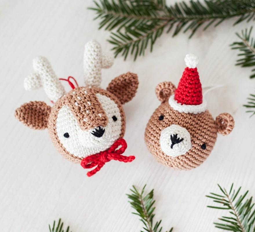Haakpatroon kerstballen beertje en hertje