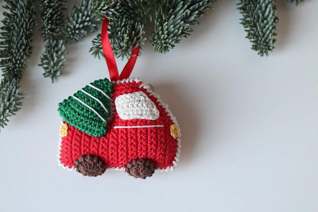 Gratis haakpatroon kerstboom met autootje