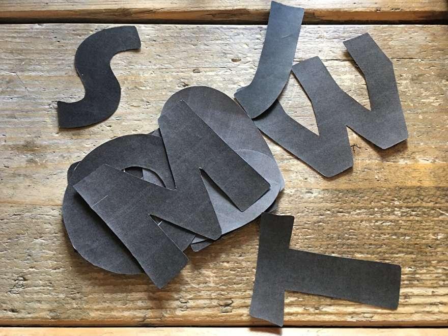 Sjabloon vilten letters