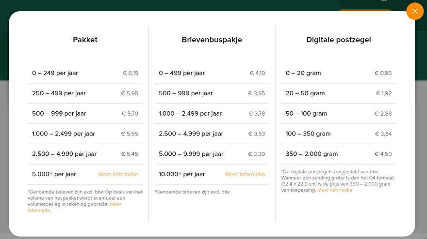 Tarieven myparcel opmaatgehaakt.nl