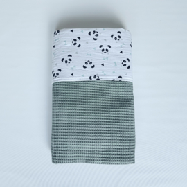 Deken Panda Mint/Wafel Oudgroen