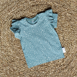 Ruffle T-Shirt Dots Dusty Mint