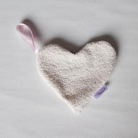 Speendoekje Hart Hydrofiel Panter Lichtroze/Teddybadstof Ecru