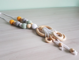 Bijt-/Voedingsketting Crochet Ochre/Mint