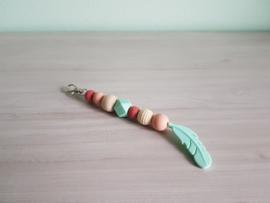 Sleutelhanger / Tassenhanger Feather Mint/Peach/Terra
