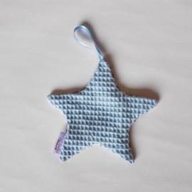 Speendoekje Ster Hydrofiel Panter Wit/Wafel Lichtblauw