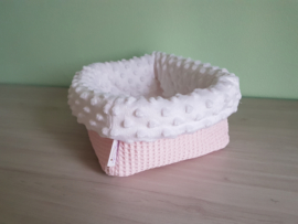 Commodemandje Wafel Babyroze/Minky Fleece Wit
