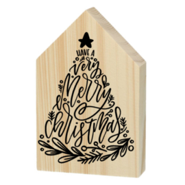 Houten huisje - Have a very merry christmas