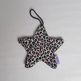 Speendoekje Ster Tricot Luipaard Wit/Zwart/Oker/Katoenfleece Zwart