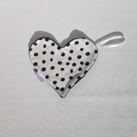 Speendoekje Hart Painted Dots/Katoenfleece Zwart