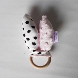 Rammelaar Painted Dots Wit/Zwart/Minky Fleece Lichtroze