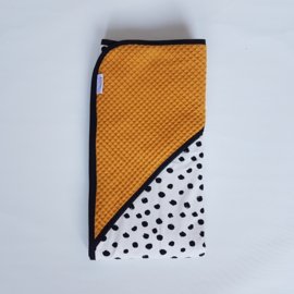 Omslagdoek Tricot Painted Dots/Wafel Okergeel