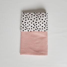 Deken Painted Dots Tricot/Wafel Poederroze