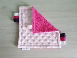 Labeldoekje Minky Fleece Roze/Badstof Fuchsia