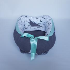 Babynestje Panda Mint/Wafel Donkergrijs