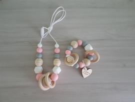 Bijt-/Voedingsketting Soft Pink/Grey