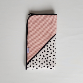 Omslagdoek Tricot Painted Dots/Wafel Poederroze