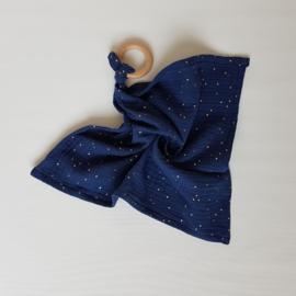 Knuffeldoek Golden Studs Donkerblauw