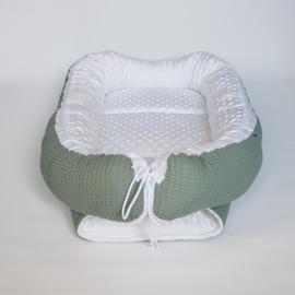 Babynestje Minky Fleece Off-White/Wafel Oudgroen