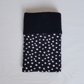 Deken Painted Dots Zwart/Wit/Katoenfleece Zwart