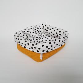 Commodemandje Tricot Painted Dots/Wafel Okergeel