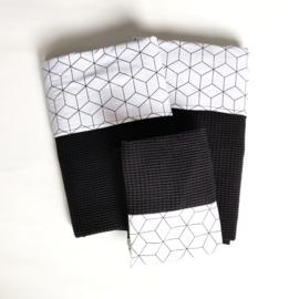 Set Kubus Wit /Zwart/Wafel Zwart