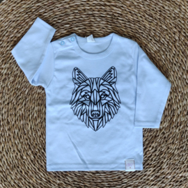 Longsleeve Lichtblauw - Geometrische Wolf