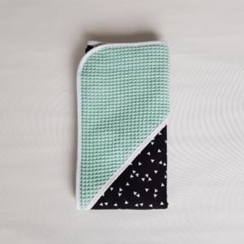 Omslagdoek Triangel Zwart/Wit/Wafel Mint