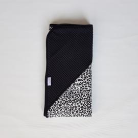 Omslagdoek Tricot Luipaard Wit/Zwart/Wafel Zwart