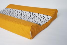 Aankleedkussenhoes Tricot Painted Dots/Wafel Okergeel