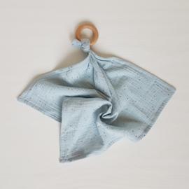 Knuffeldoek Golden Studs Lichtblauw/Grijsblauw