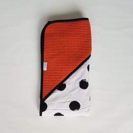 Omslagdoek Grote Dots Zwart/Wit/Wafel Terra/Roest