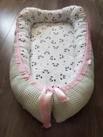 Babynestje Panda Roze/Wafel Pastelmint