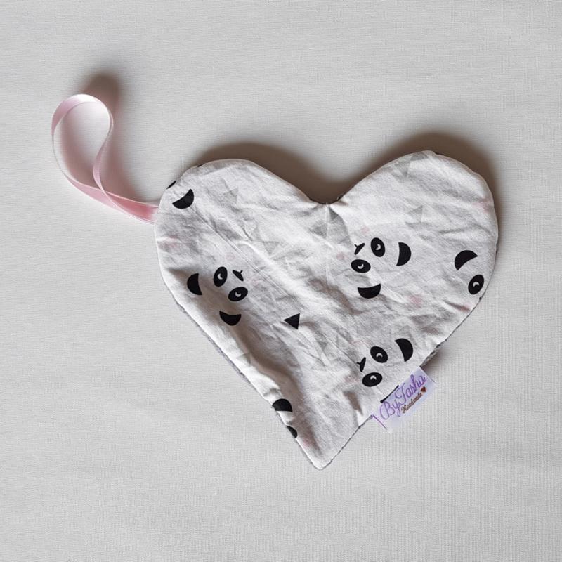Speendoekje Hart Panda Roze/Katoenfleece Grijs