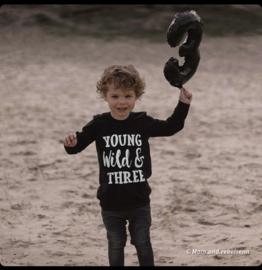 verjaardag shirt 3 jaar - Shirt 'Young wild & three'