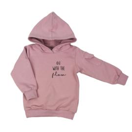 Kinder hoodie met klepzakje - 'Go with the flow' (7 kleuren)