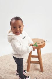 Kinder teddy Hoodie met Voorzak en Logo | Cream